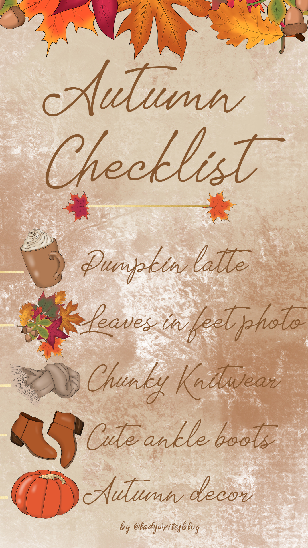 Free Autumn checklist wallpaper