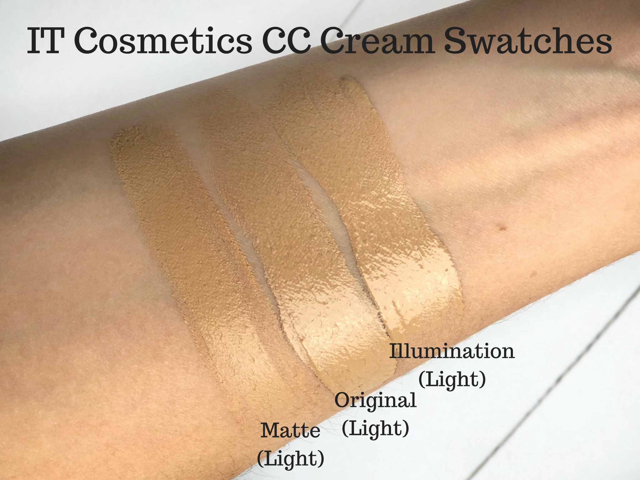 IT Cosmetics CC Cream Swatches