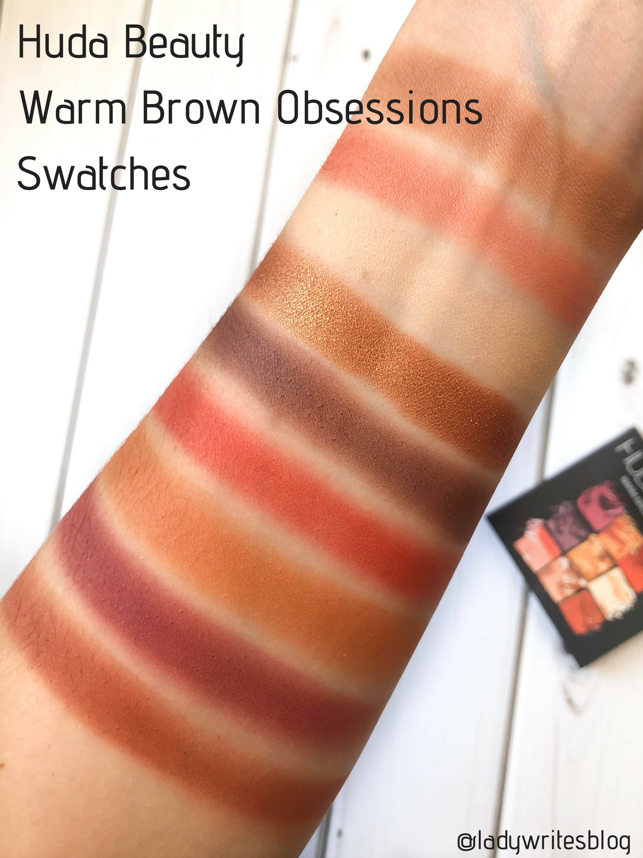 Huda Beauty Warm Brown Obsessions Swatches