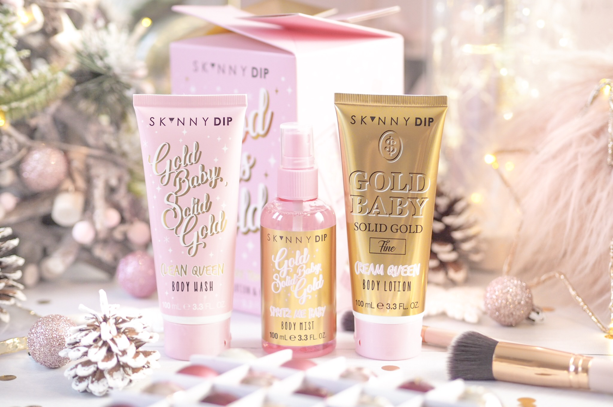 Skinnydip Good As Gold Body Care Trio.