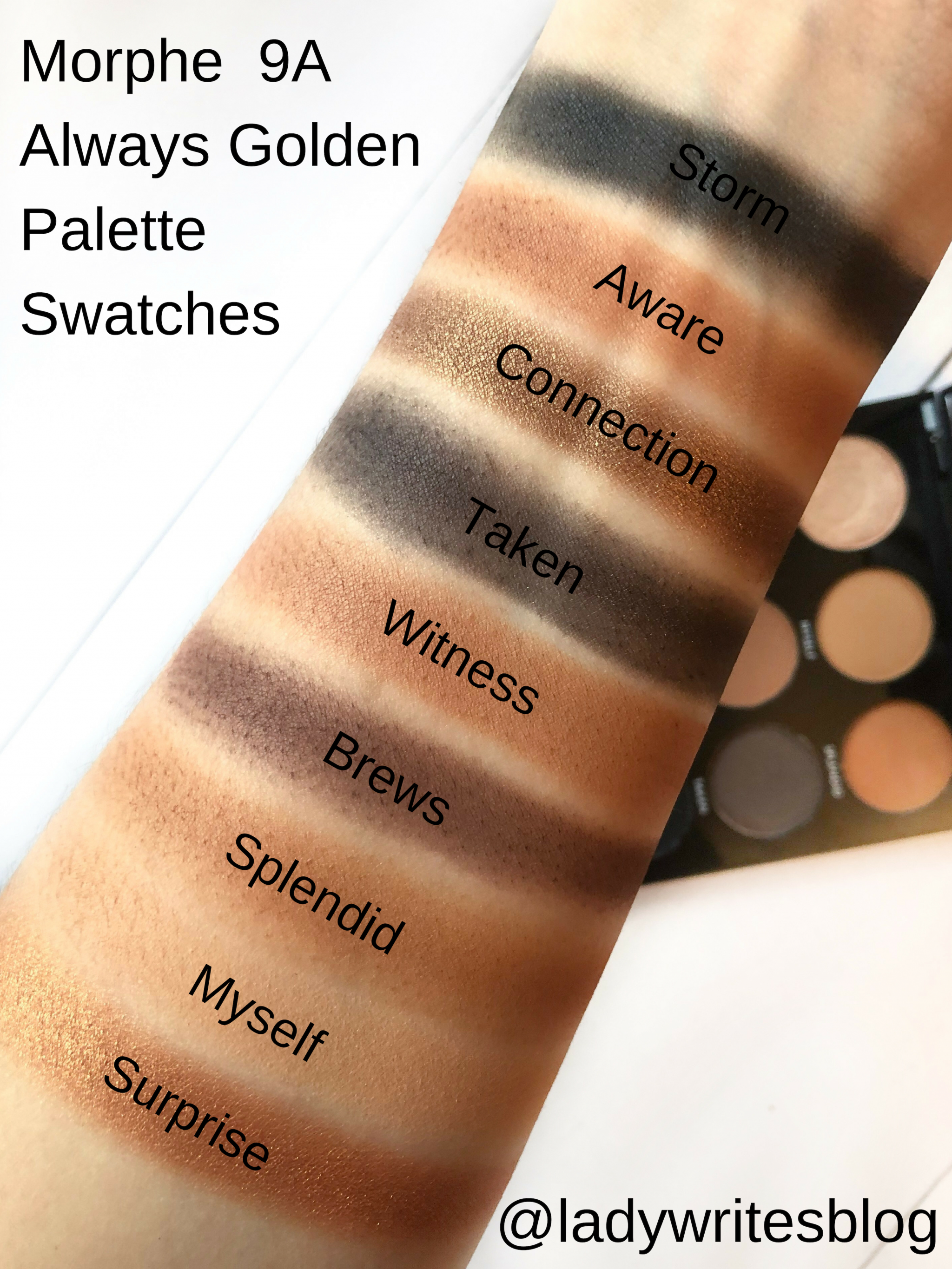 Morphe 9A Always Golden Palette Swatches
