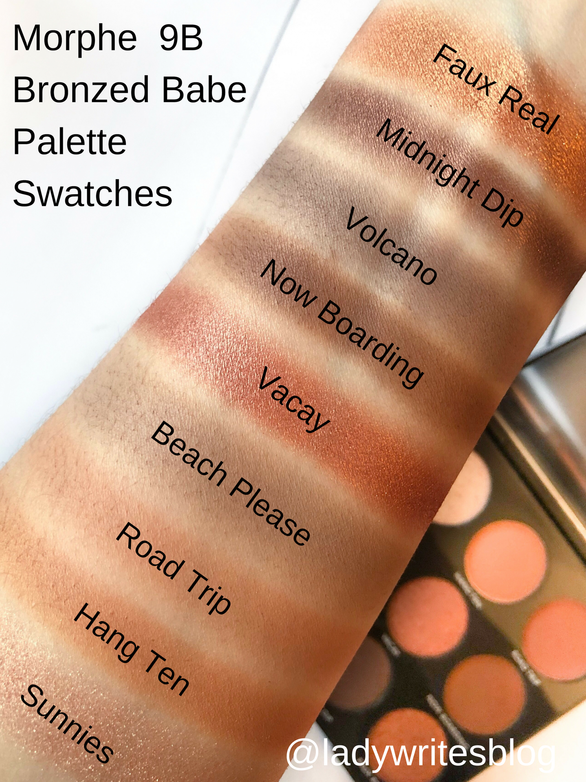 Morphe 9B Bronzed Babe Palette Swatches