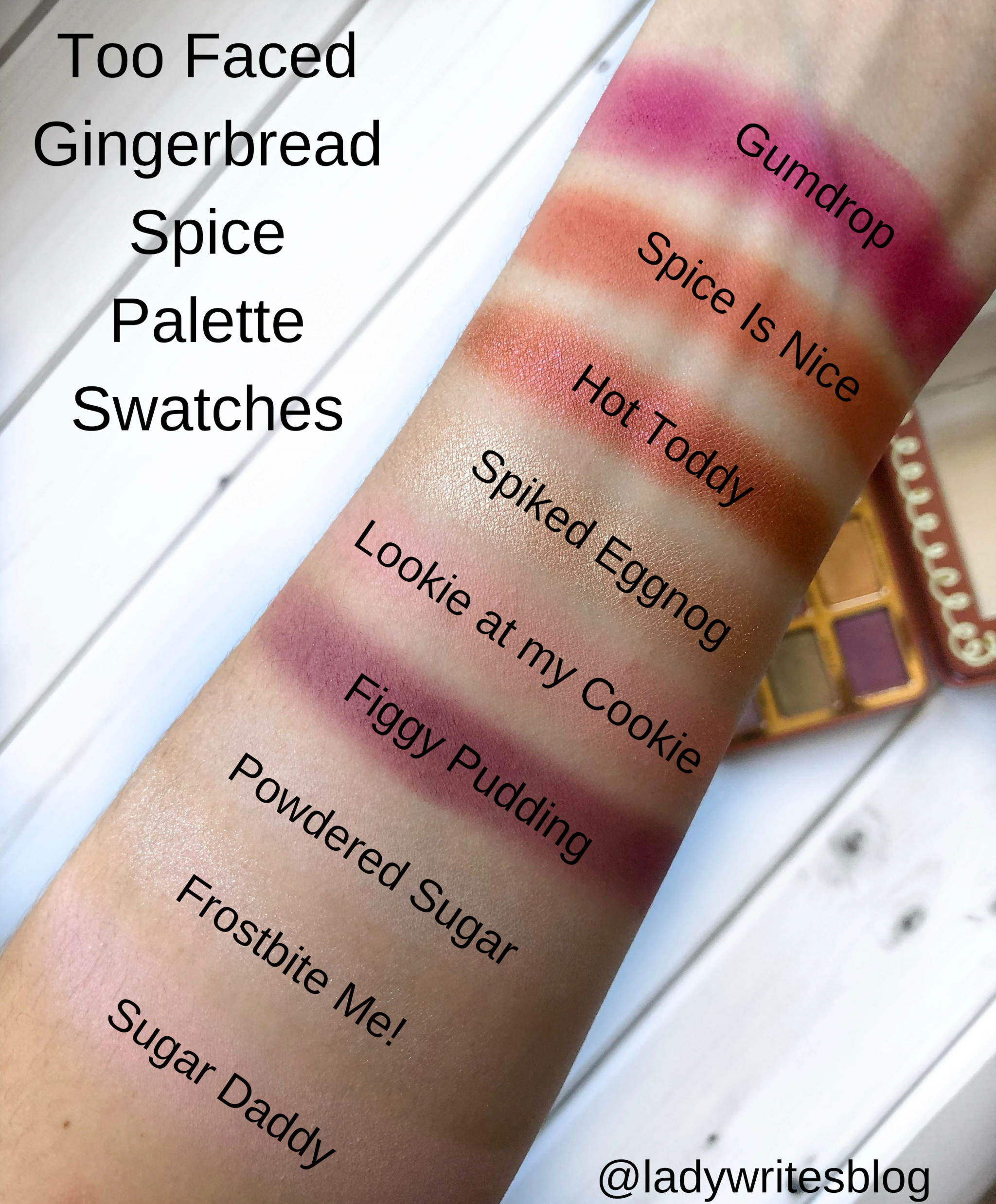 Too Faced Gingerbread Spice Palette Swatches