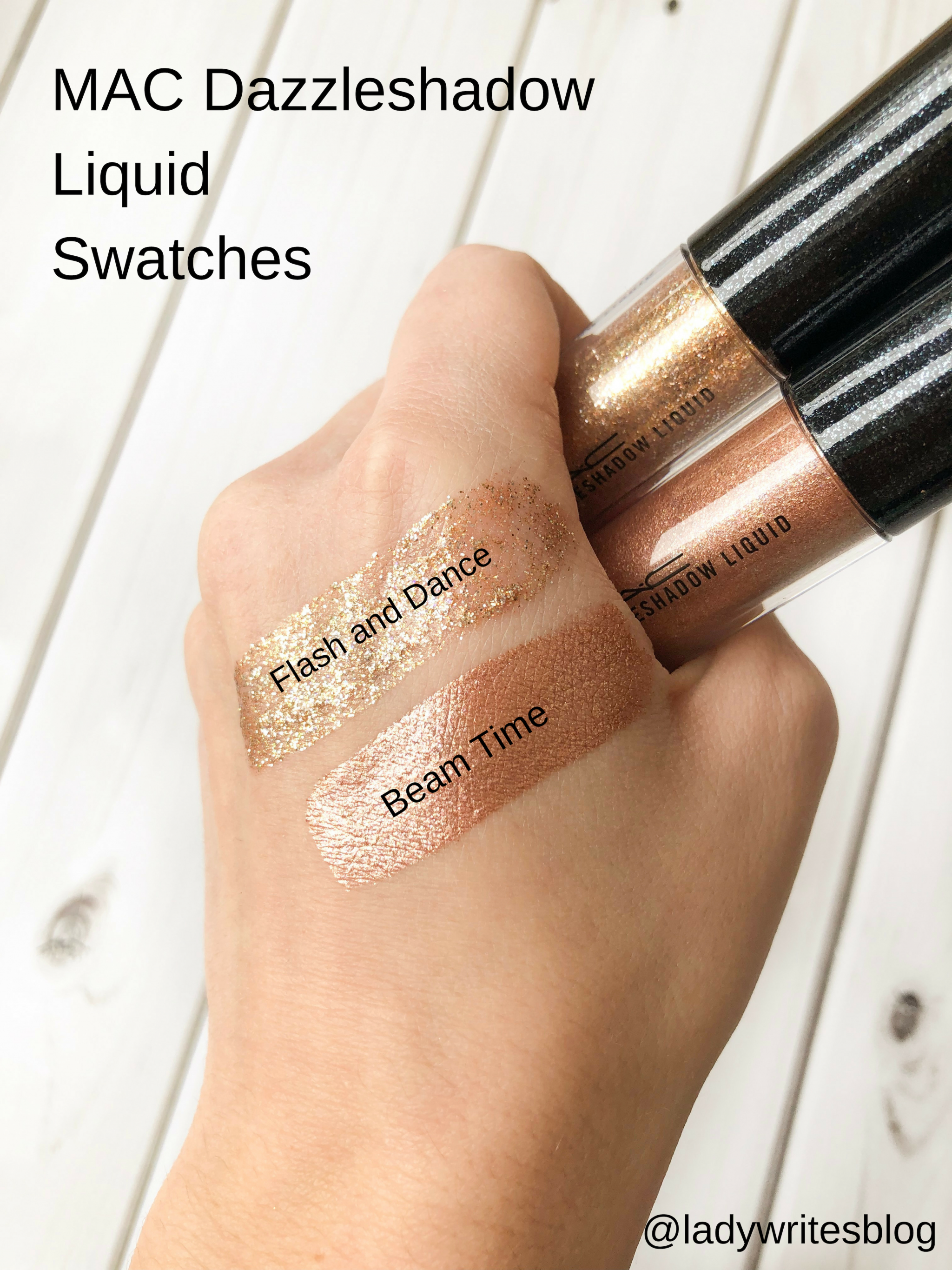 MAC Dazzleshadow Liquid Swatches Flash and Dance Beam Time