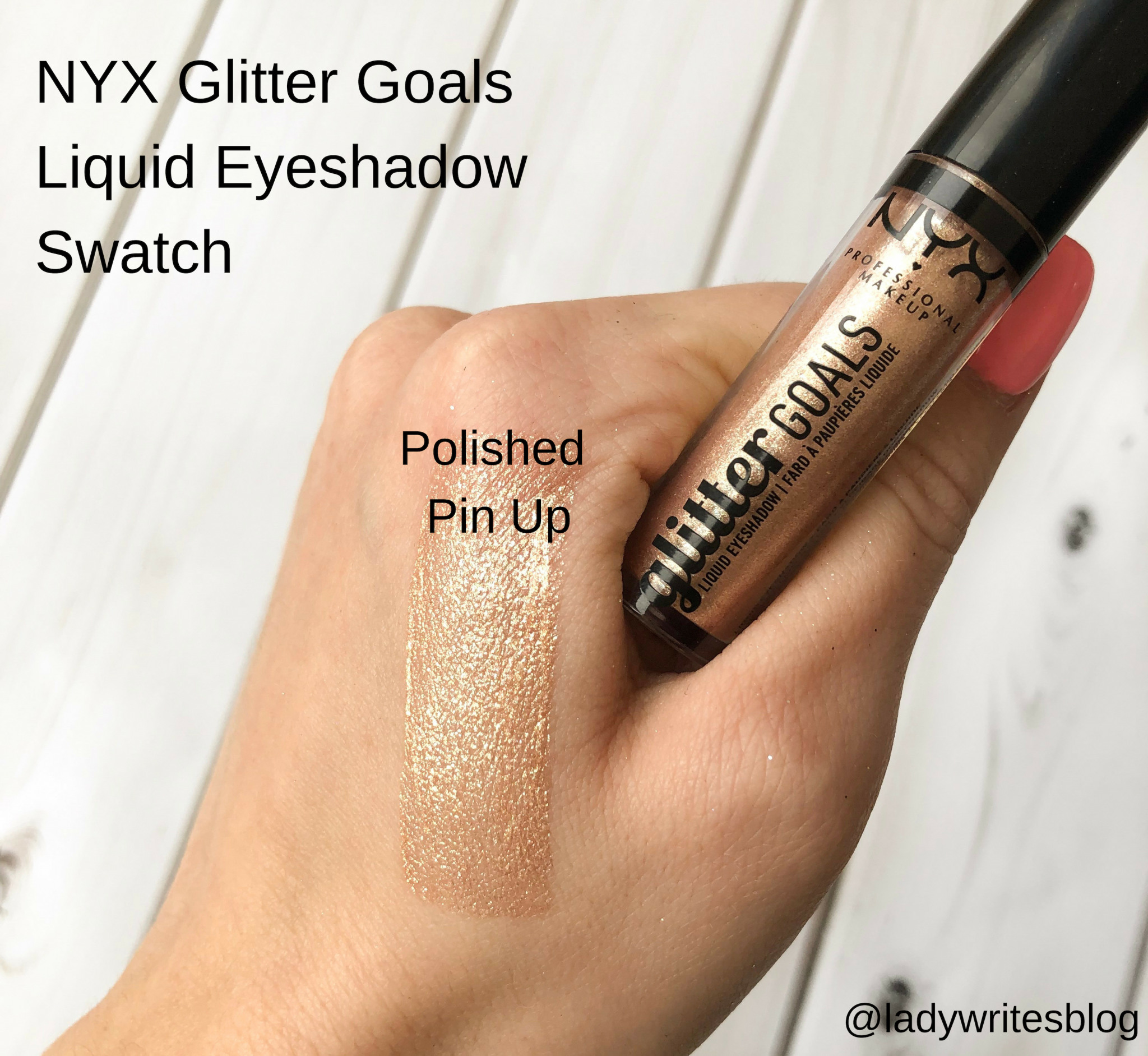 NYX Glitter Goals Liquid Eyeshadow Swatch, Polished Pin Up