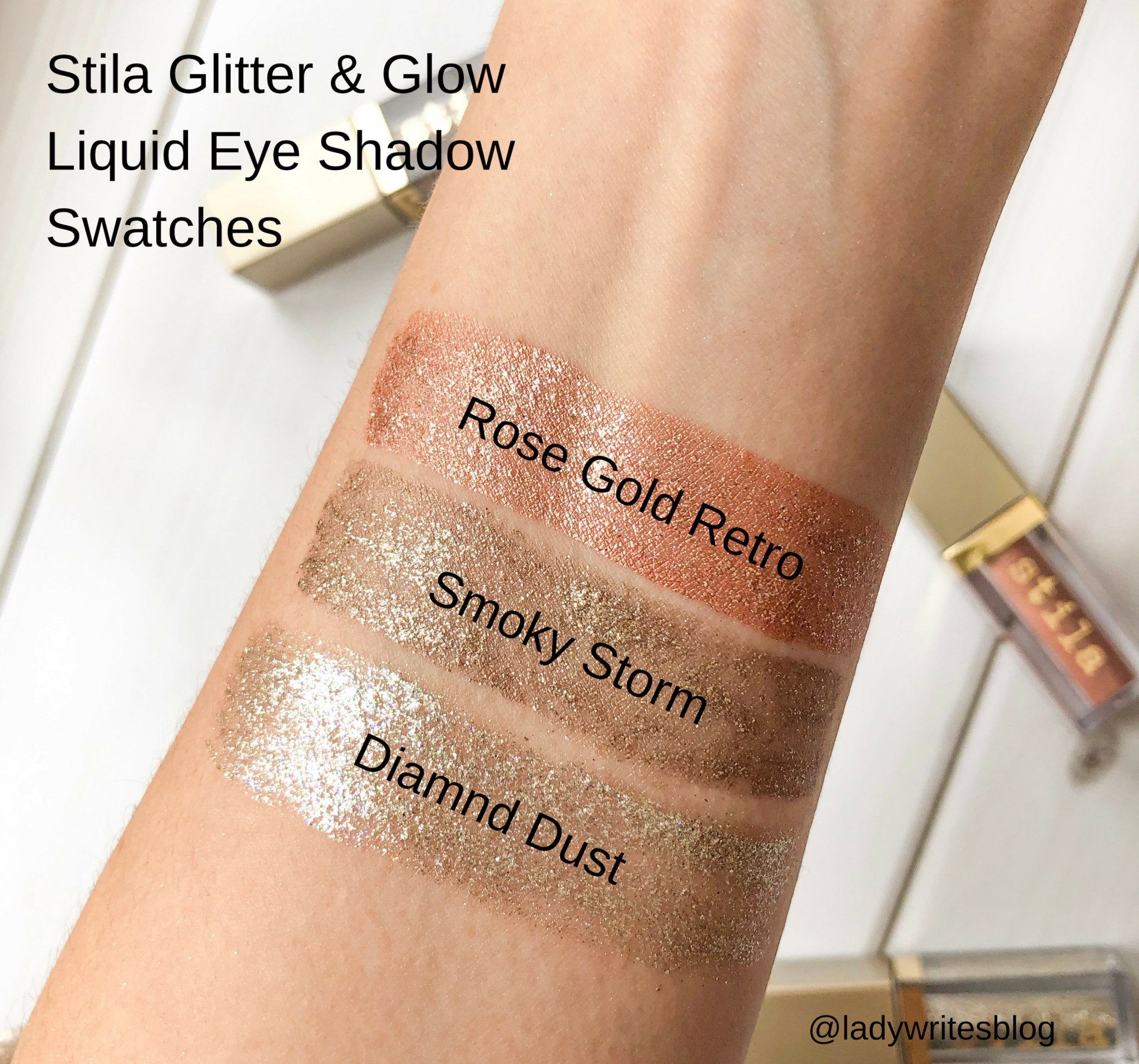 Stila Glitter & Glow Swatches Rose Gold Retro Smoky Storm Diamond Dust