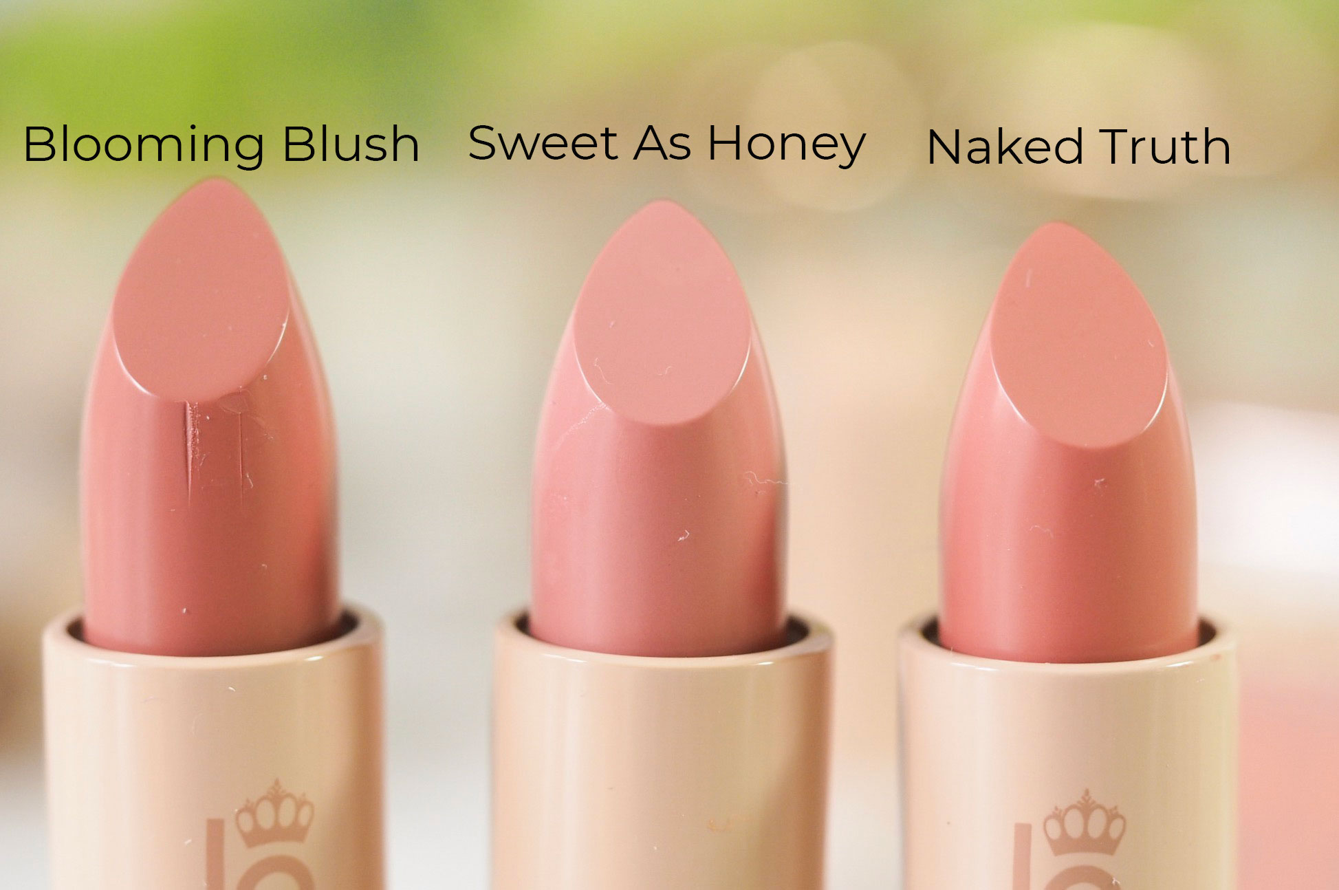 Blooming Blush, Sweet as Honey, Naked Truth, swatches, Lipstick Queen Nothing But The Nudes