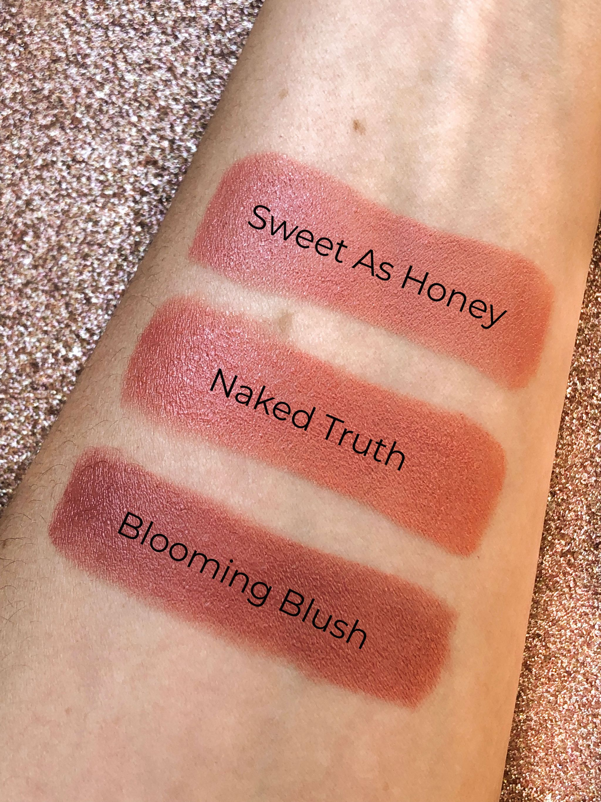 Lipstick Queen Nothing But The Nudes Swatch, Blooming Blush, Sweet as Honey, Naked Truth